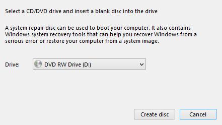 Windows 8 - Select CD for System Repair