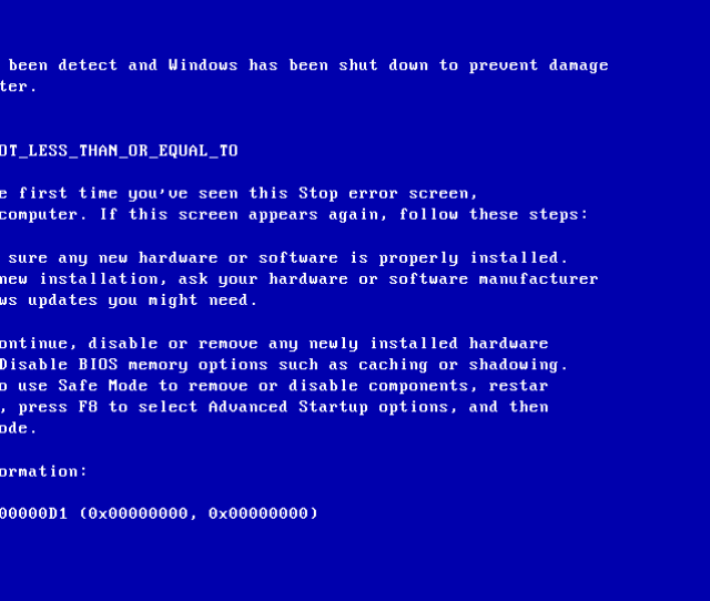 Microsoft Released An Update For Windows Xp Service Pack 2 Sp2 Users That Have The 0x000000d1 Error