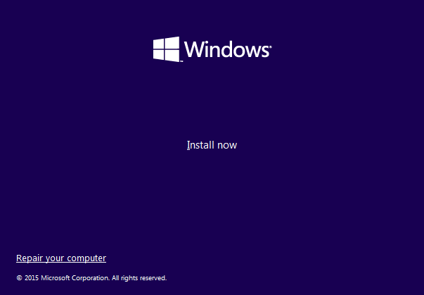 Windows 10 setup screen