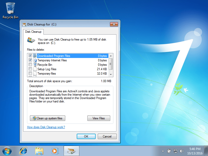 Windows 7 Disk Cleanup screen