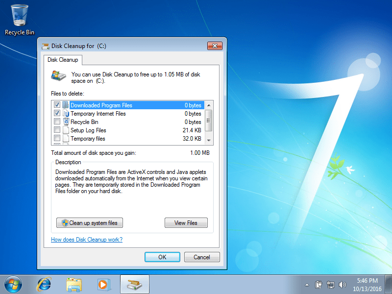Disk Cleanup – Guide for Windows XP, Vista, 7, 8, 8.1, 10 Windows 7 Disk Cleanup screen