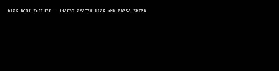 Disk boot failure error screen