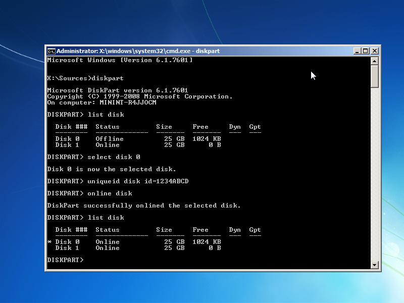 Disk signature collision error fixed in diskpart