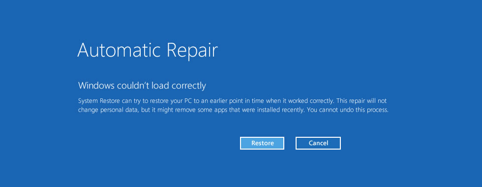 Windows 8 couldnt load correctly error