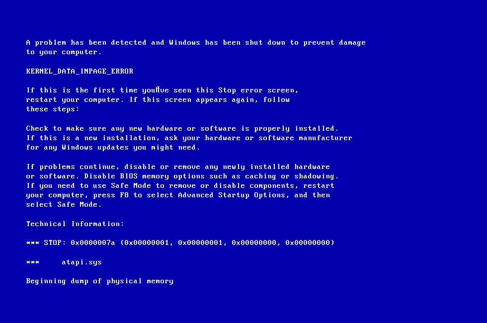 Screenshot of the 0x0000007a error