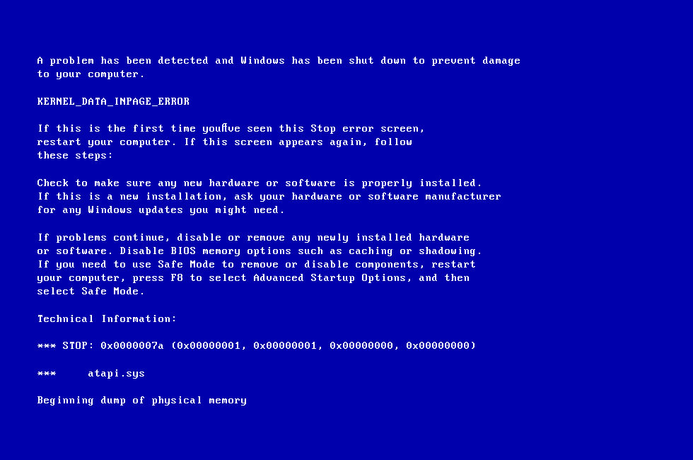 Image result for The Kernel Data Inpage Error Windows