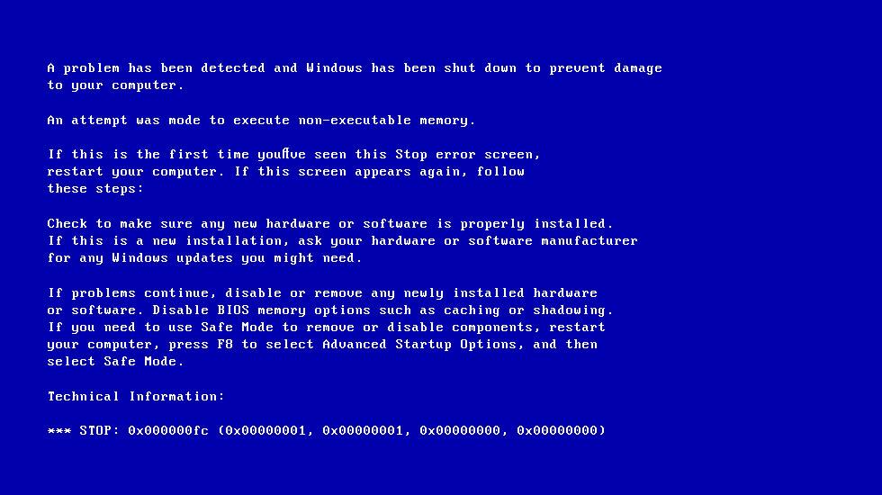 Screenshot of 0x000000fc error