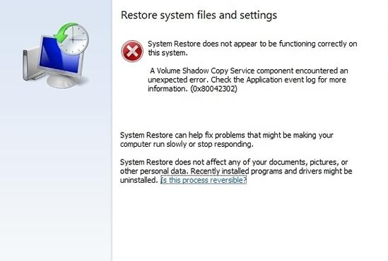 0x80042302 in System Restore Window