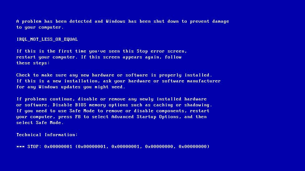 IRQL_NOT_LESS_OR_EQUAL error screen