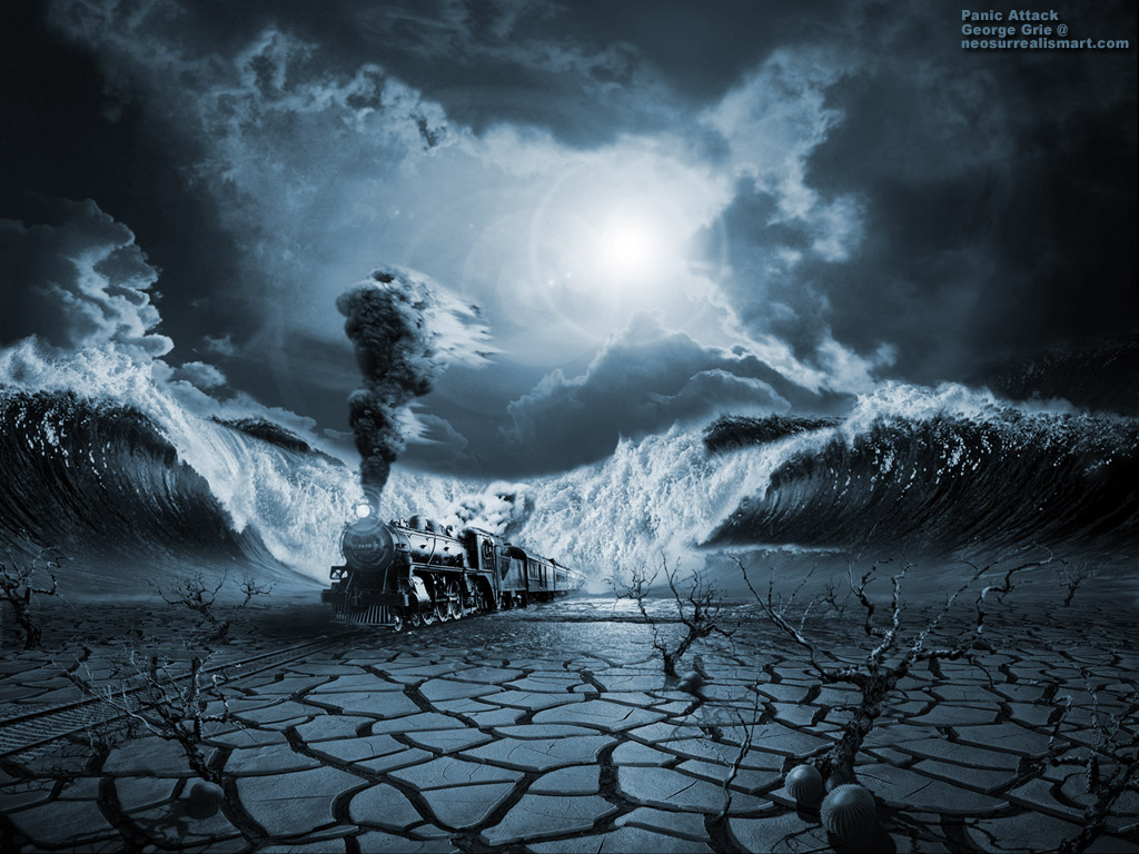 Modern art surrealism poster, print, wallpaper: Panic Attack or Anxiety PTSD