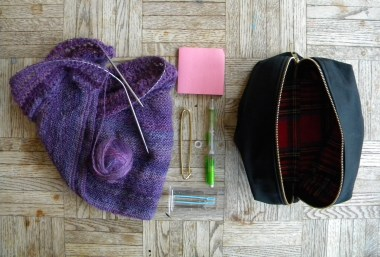The contents of my current project bag. I'm making a Henslowe from my own handspun yarn.