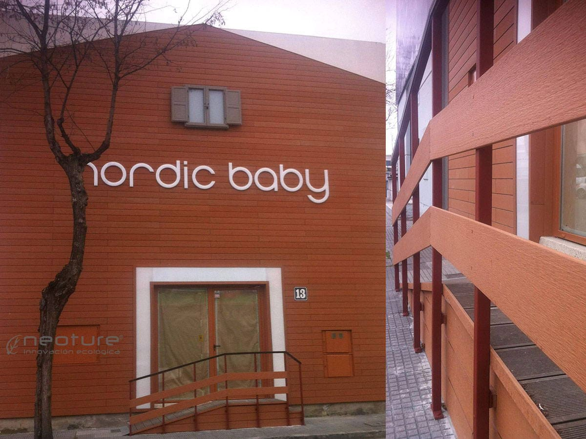 revestimiento fachada madera exterior tienda