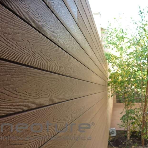 Revestimiento composite exterior jardin wood veteado