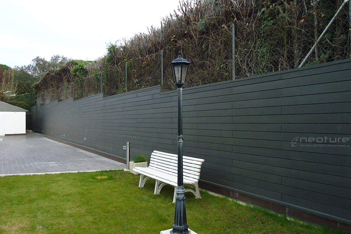 revestimiento pared terraza en madera tecnologica
