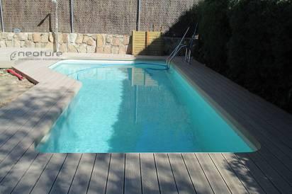 Tarima exterior piscina en madera sintetica color sand