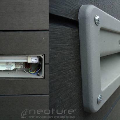 luz empotrada en revestimiento paredes en madera composite
