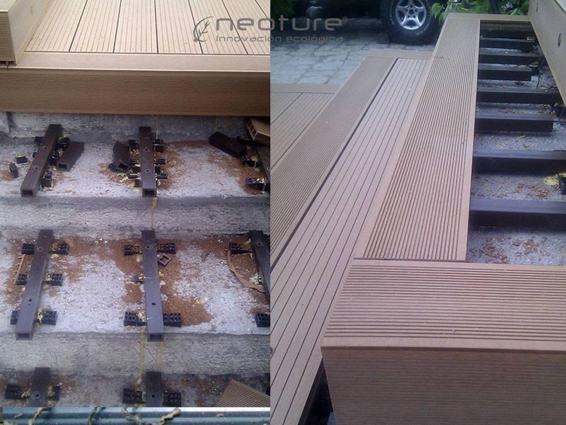 rastrelado escaleras con madera sintetica exterior