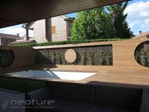 Tarima madera composite exterior en suelo y vallado neocros ipe