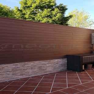 Vallas de madera tecnológica exterior para terrazas en color ipe