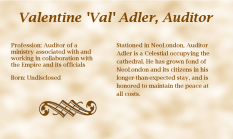 Valentine 'Val' Adler, Auditor - biography