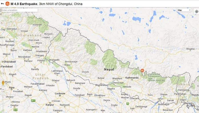 Earthquake in Nepal with epicentre in China