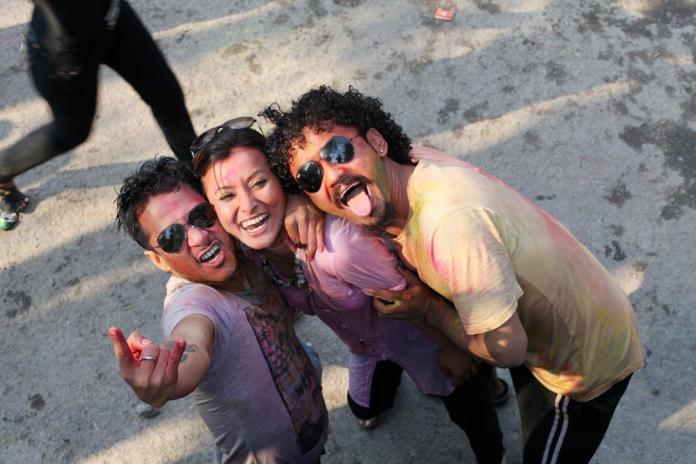Namrata Shrestha Celebrating holi 2013 2