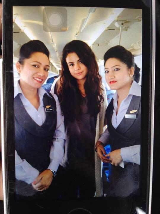 Selena Gomez in Nepal on Buddha Air