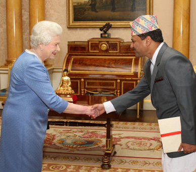 Dr Suresh Chandra Chalise with UK Queen Elizabeth