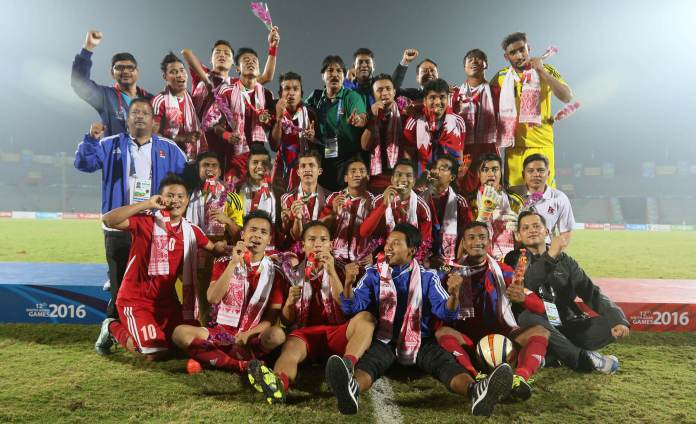 Football Team Nepal win India in South Asian Games 2016