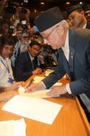KP Oli Sign New Constitution of Nepal