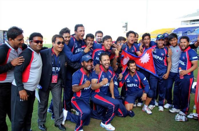 Team Nepal cricket after winning Match Hongkong