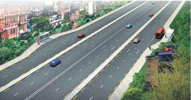 six lane of ringroad in kathmandu