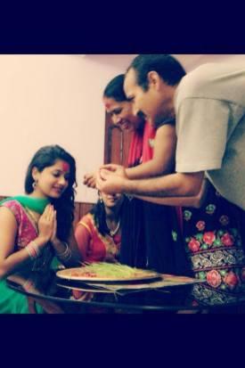 Keki Adhikari Receiving Dashain 2013 from her parents Tika Image 3