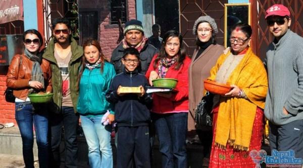 Namrata Shrestha with Saugat malla and Siddhartha Koirala Megha Movie