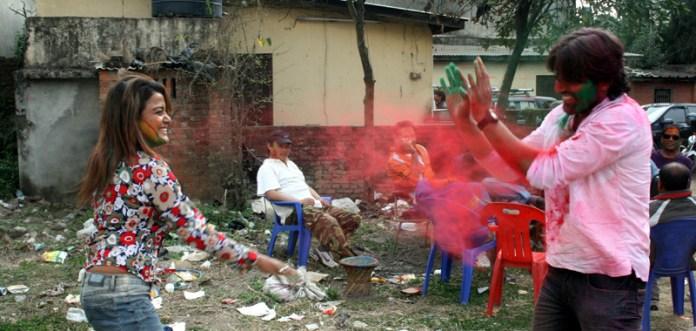 Rekha Thapa Playing holi 1