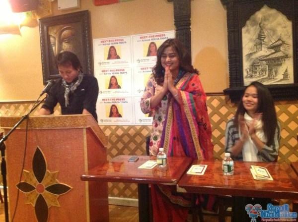 Rekha Thapa in Press Meet USA Jackson Heights NYC