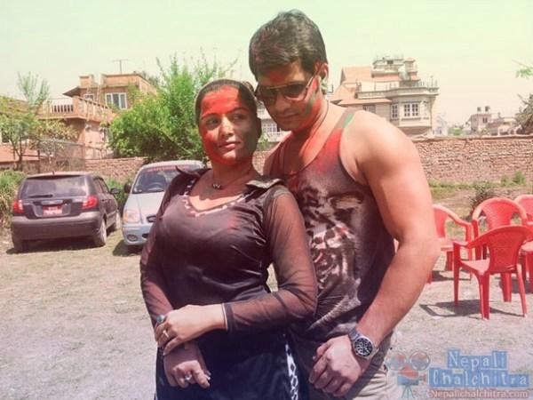 Rekha Thapa with Sabin Shrestha Holi 2013