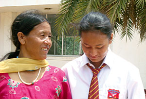 A Nepali mother, reunited at last with her trafficked daughter, photo: RUBEENA MAHATO
