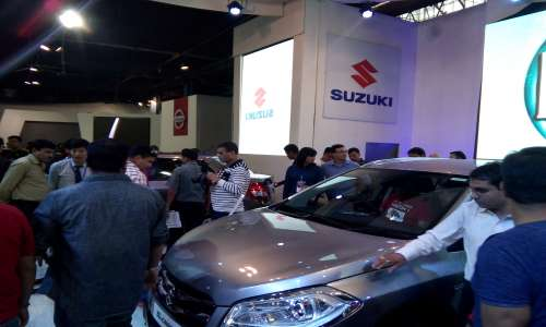 People checking out Maruti Suzuki S-Cross crossover at NADA Auto show 2015 at Bhirkutimandap. It was launched in the Nepal at prices ranging from NPR 5.59 million to NPR 6.19 million.