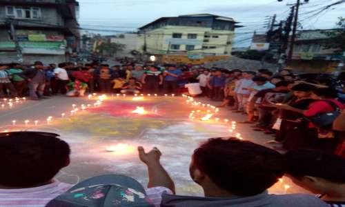 People celebrating promulgation of constitution of Nepal.