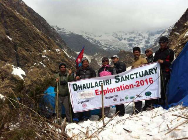 A team reached Dhaulagiri South Base Camp to research and map the treking route. Photo: Dinesh Narayan Shrestha