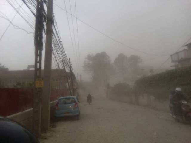Dust storm hit the Kathmandu Valley at around 4 pm on 28 March 2016.