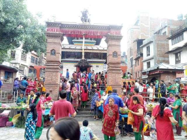 Devotees on Shrawan Somvar (Monday) at Makhan Mahadev Temple in Kathmandu, Nepal.