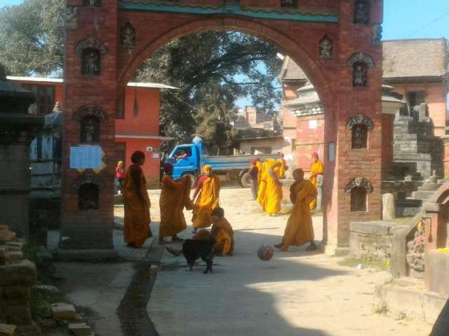 Young monks playing football at Bhaktapur.