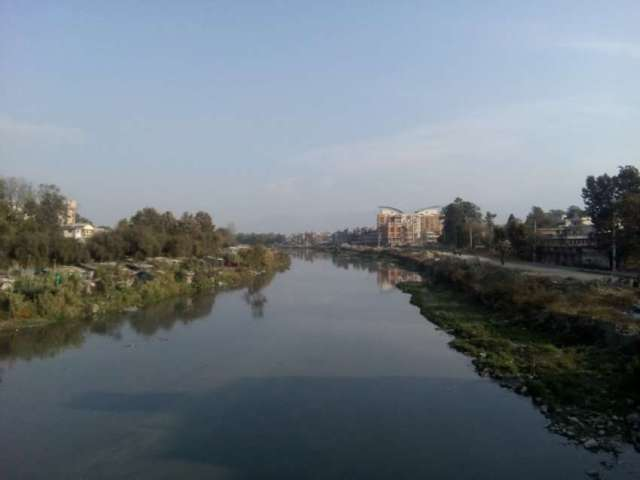 View of Bagmati river from Thapathali Bridge.
