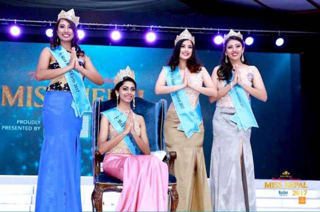 Miss Nepal World 2017 Nikita Chandak (on chair) , (from left) Miss Nepal Earth Rojina Shrestha,  Miss Nepal International Niti Shah and Miss Nepal Asia Pacific Sahara Basnet at Miss Nepal event held at Hotel Annapurna, Durbar Marg on Friday, June 2, 2017.