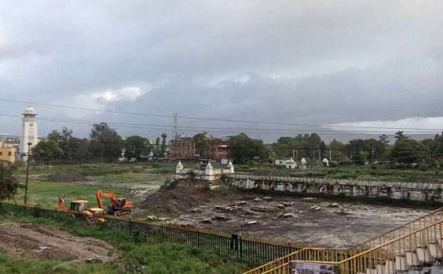 A view of the Balgopaleshwor temple, which was damaged in the April 25 earthquake, in Rani Pokhari, Kathmandu.