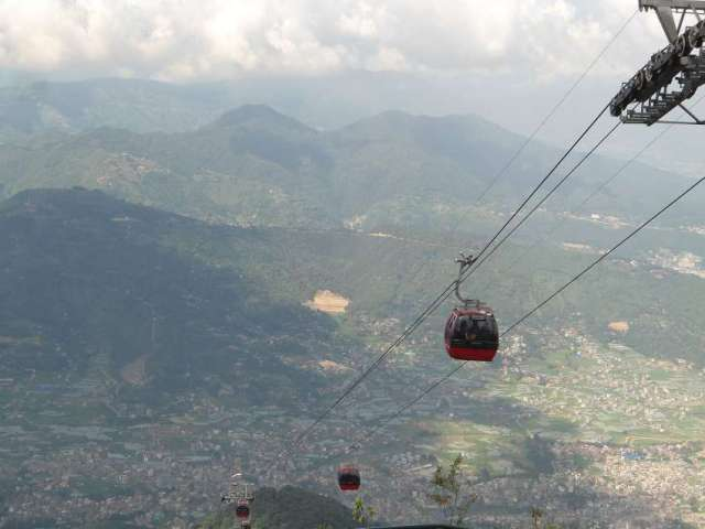 View of cable cars and Kathmandu valley from Chandragiri Hill.