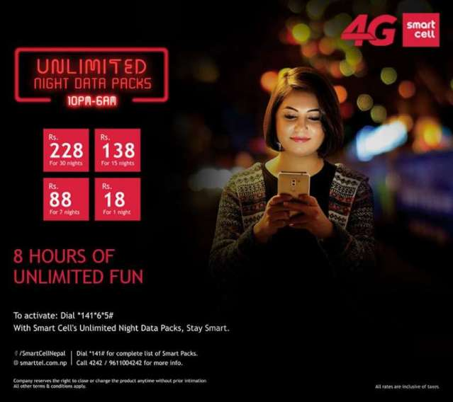 Unlimited night data pack from SmartCell