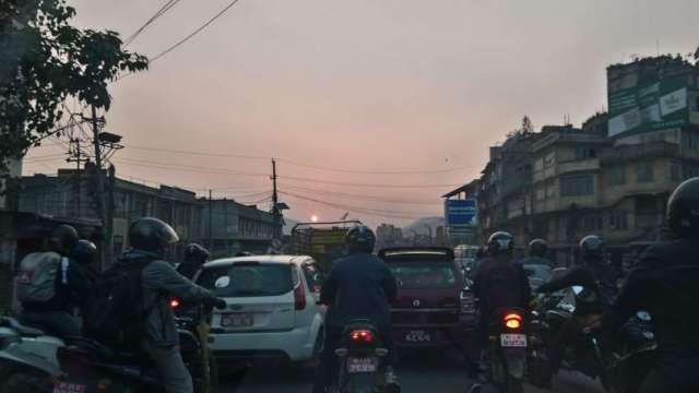Office time traffic jam in Kathmandu.